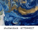 marbled blue and golden... | Shutterstock . vector #677044027