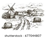 windmill  village houses and... | Shutterstock .eps vector #677044807