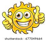a sun cartoon character mascot... | Shutterstock . vector #677049664