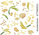 seamless pattern with millet... | Shutterstock .eps vector #677060521