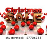 Abstract 3d illustration of sign 'Christmas sale' and red xmas balls, over white background - stock photo