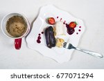 breakfast with coffee and... | Shutterstock . vector #677071294