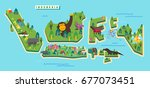 indonesia tourism map. vector... | Shutterstock .eps vector #677073451