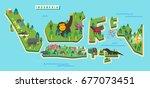 indonesia tourism map. vector... | Shutterstock .eps vector #677073451