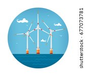 round icon wind turbines at the ... | Shutterstock . vector #677073781