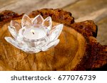 Candle Burning In Crystal Lotu...