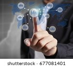 hand touch virtual icon social... | Shutterstock . vector #677081401