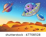 red planet with flying saucers  ...