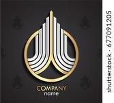 3d silver golden linear growth... | Shutterstock .eps vector #677091205