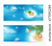 vector set of summer horizontal ... | Shutterstock .eps vector #677091289