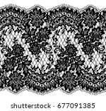 seamless vector black lace... | Shutterstock .eps vector #677091385
