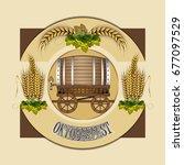 beer barrel with cart. beer... | Shutterstock .eps vector #677097529