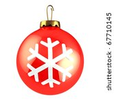 3d illustration of red christmas ball isolated over white background - stock photo