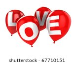 abstract 3d illustration of red party balloons with sign 'love', isolated over white background - stock photo