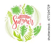 hello summer lettering with... | Shutterstock .eps vector #677104729