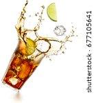 cuba libre cocktail splashing... | Shutterstock . vector #677105641