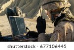 soldier is using laptop... | Shutterstock . vector #677106445