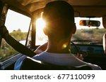 rear view portrait of man... | Shutterstock . vector #677110099