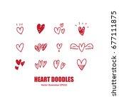 heart doodles | Shutterstock .eps vector #677111875