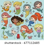 vector summer illustration set... | Shutterstock .eps vector #677112685