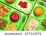 serving trays with delicious...   Shutterstock . vector #677113375
