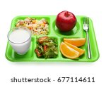serving tray with delicious... | Shutterstock . vector #677114611