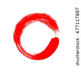 a circle drawn with a chinese... | Shutterstock .eps vector #677117887