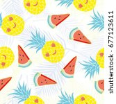 pineapple pattern  vector ... | Shutterstock .eps vector #677123611