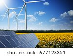 green energy concept with solar ... | Shutterstock . vector #677128351
