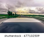 vintage roof white car and... | Shutterstock . vector #677132509