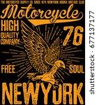 vintage motorcycle poster t... | Shutterstock .eps vector #677137177