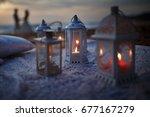 loving couple at tropical ocean ... | Shutterstock . vector #677167279