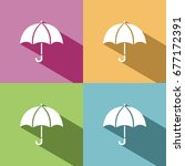 umbrella icon with shade on... | Shutterstock .eps vector #677172391