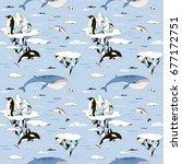arctic ocean decorative pattern | Shutterstock .eps vector #677172751