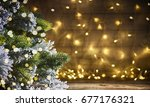 rustic holiday background with... | Shutterstock . vector #677176321