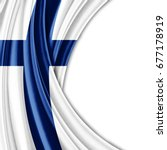 finland flag of silk with... | Shutterstock . vector #677178919