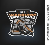 hockey goalkeeper logo  emblem... | Shutterstock .eps vector #677184805