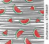 water melon seamless pattern... | Shutterstock .eps vector #677188669