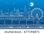 night city scene  town... | Shutterstock .eps vector #677196871