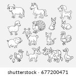 pets on the farm vector hand... | Shutterstock .eps vector #677200471
