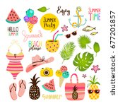 summer set with hand drawn... | Shutterstock .eps vector #677201857