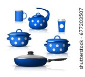 set of realistic pan isolated... | Shutterstock .eps vector #677203507