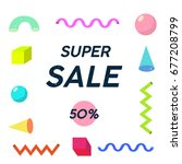 super sale memphis element | Shutterstock .eps vector #677208799