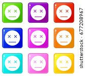 dead emoticons of 9 color set... | Shutterstock .eps vector #677208967