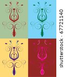 Raster version Illustration of seamless background. Abstract Flower Set - stock photo