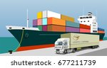 logistics port  ship  freight ... | Shutterstock .eps vector #677211739