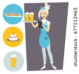 waitress with a tray and a beer.... | Shutterstock .eps vector #677212465