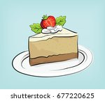 cheese cake strawberry vector | Shutterstock .eps vector #677220625