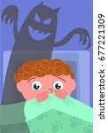scared boy in his bed with evil ... | Shutterstock .eps vector #677221309