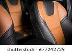 modern sport car  red leather... | Shutterstock . vector #677242729